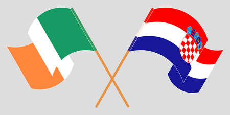 Crossed and waving flags of Croatia and Ireland. Vector illustration