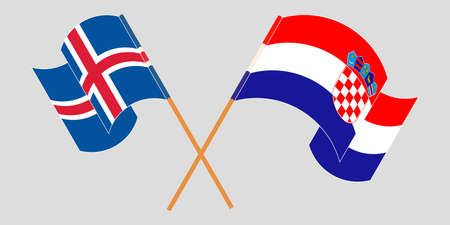 Crossed and waving flags of Croatia and Iceland. Vector illustration
