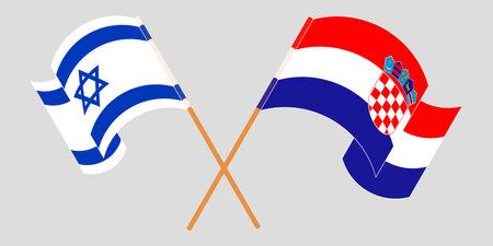 Crossed and waving flags of Croatia and Israel. Vector illustration Ilustración de vector