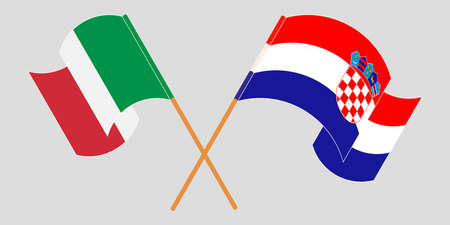 Crossed and waving flags of Croatia and Italy. Vector illustration