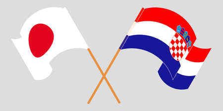 Crossed and waving flags of Croatia and Japan. Vector illustration 矢量图像