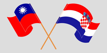 Crossed and waving flags of Croatia and Taiwan. Vector illustration 矢量图像