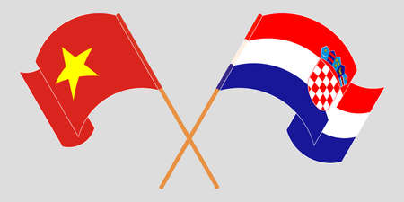 Crossed and waving flags of Croatia and Vietnam. Vector illustration