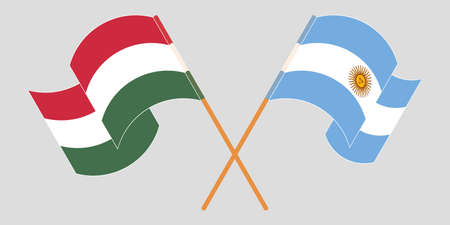Crossed and waving flags of Hungary and Argentina. Vector illustration 矢量图像