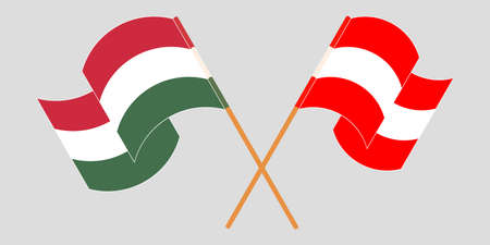 Crossed and waving flags of Hungary and Austria. Vector illustration