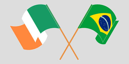 Crossed and waving flags of Ireland and Brazil