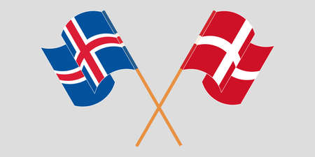 Crossed flags of Iceland and Denmark. Official colors. Correct proportion. Vector illustration