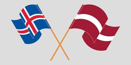 Crossed and waving flags of Iceland and Latvia. Vector illustration Vektoros illusztráció