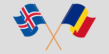 Crossed and waving flags of Iceland and Romania. Vector illustration