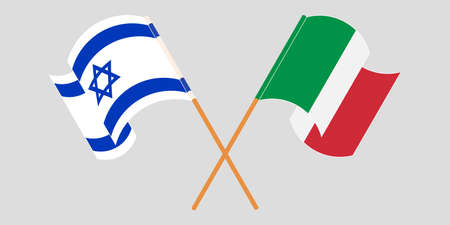 Crossed and waving flags of Israel and Italy. Vector illustration