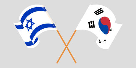 Crossed and waving flags of Israel and South Korea. Vector illustration Vektoros illusztráció