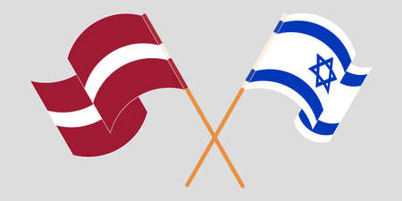 Crossed and waving flags of Israel and Latvia. Vector illustration