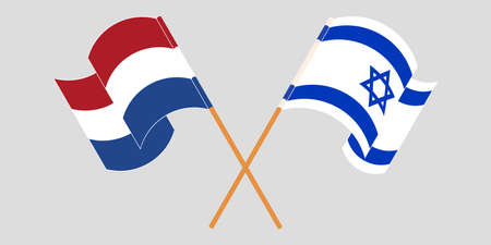 Crossed and waving flags of Israel and the Netherlands. Vector illustration
