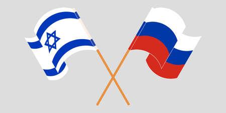 Crossed and waving flags of Israel and Russia. Vector illustration Vektoros illusztráció