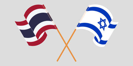 Crossed and waving flags of Israel and Thailand. Vector illustration