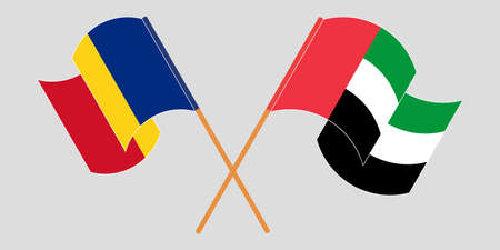 Crossed and waving flags of Romania and the United Arab Emirates. Vector illustration