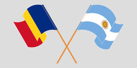 Crossed and waving flags of Romania and Argentina. Vector illustration