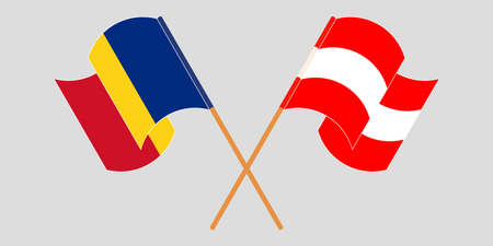 Crossed and waving flags of Romania and Austria. Vector illustration