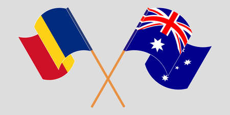Crossed and waving flags of Romania and Australia. Vector illustration