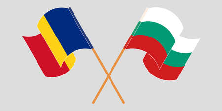 Crossed and waving flags of Romania and Bulgaria. Vector illustration