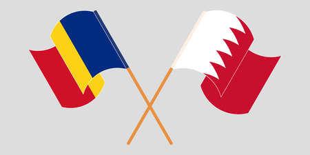 Crossed and waving flags of Romania and Bahrain. Vector illustration