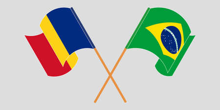 Crossed and waving flags of Romania and Brazil. Vector illustration