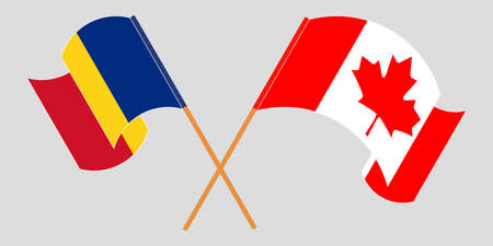 Crossed and waving flags of Romania and Canada. Vector illustration