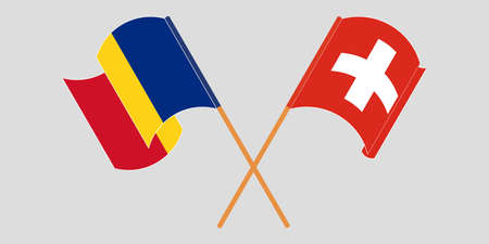 Crossed and waving flags of Romania and Switzerland. Vector illustration