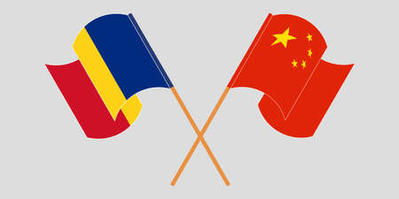 Crossed and waving flags of Romania and China. Vector illustration