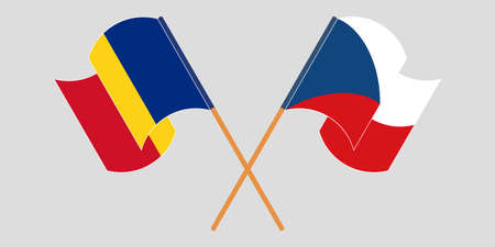 Crossed and waving flags of Romania and Czech Republic. Vector illustration
