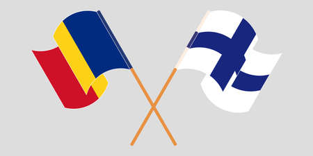 Crossed and waving flags of Romania and Finland. Vector illustration