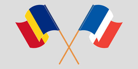 Crossed and waving flags of Romania and France. Vector illustration