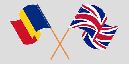 Crossed and waving flags of Romania and the UK. Vector illustration