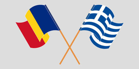 Crossed and waving flags of Romania and Greece. Vector illustration