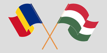 Crossed and waving flags of Romania and Hungary. Vector illustration