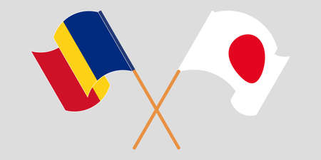 Crossed and waving flags of Romania and Japan. Vector illustration