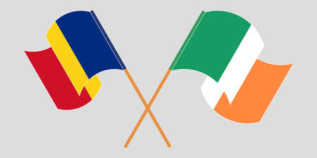 Crossed and waving flags of Romania and Ireland. Vector illustration