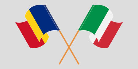 Crossed and waving flags of Romania and Italy. Vector illustration