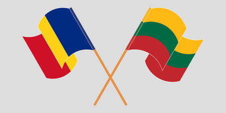 Crossed and waving flags of Romania and Lithuania. Vector illustration