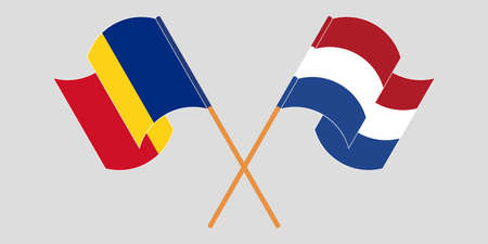 Crossed and waving flags of Romania and the Netherlands. Vector illustration