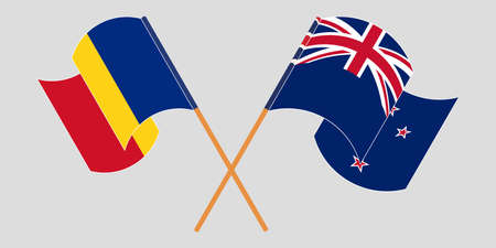 Crossed and waving flags of Romania and New Zealand. Vector illustration