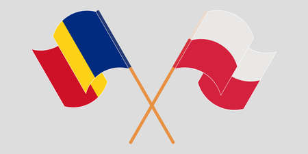 Crossed and waving flags of Romania and Poland. Vector illustration