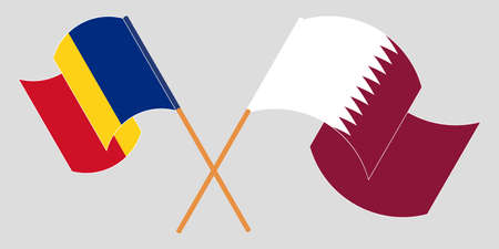 Crossed and waving flags of Romania and Qatar. Vector illustration