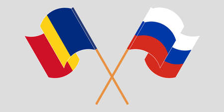 Crossed and waving flags of Romania and Russia. Vector illustration