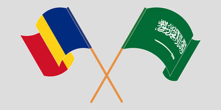 Crossed and waving flags of Romania and the Kingdom of Saudi Arabia. Vector illustration