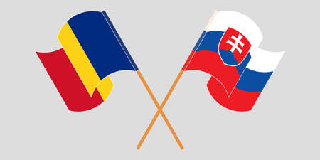 Crossed and waving flags of Romania and Slovakia. Vector illustration