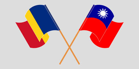 Crossed and waving flags of Romania and Taiwan. Vector illustration