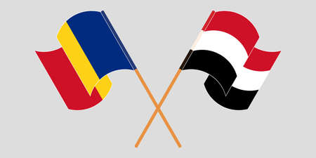 Crossed and waving flags of Romania and Yemen. Vector illustration