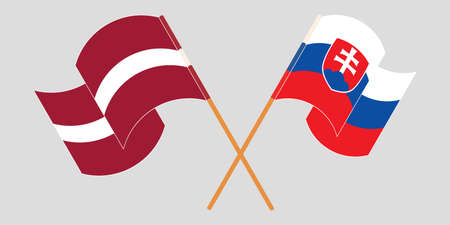 Crossed and waving flags of Slovakia and Latvia. Vector illustration