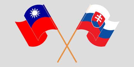 Crossed and waving flags of Slovakia and Taiwan. Vector illustration Ilustração